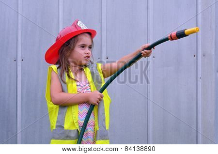 Child Girl In Fireman Costume