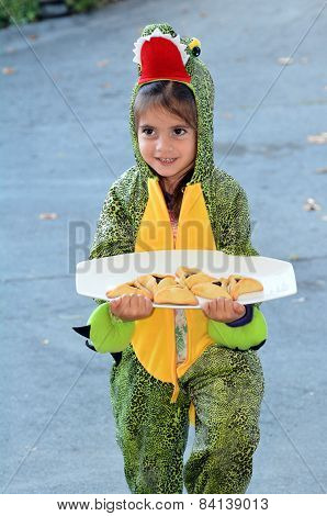 Purim Jewish Holiday - Child Carry Mishloach Manot