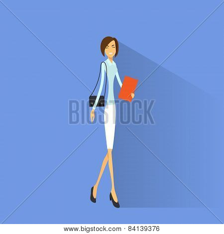 Businesswoman smile, full length business woman flat icon