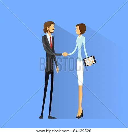 Business people handshake, businessman and businesswoman hand shake flat icon