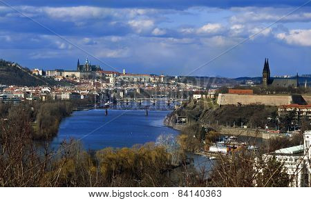 Prague Panorama With Prague Castle, Vltava River And Vysehrad Castle