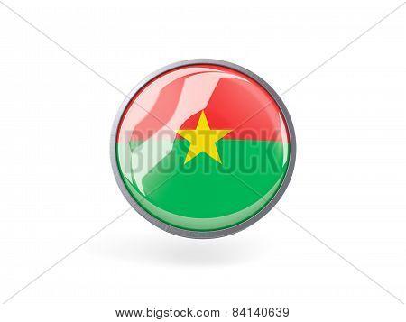 Round Icon With Flag Of Burkina Faso