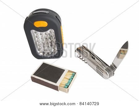 Flashlight, Knife And Matches