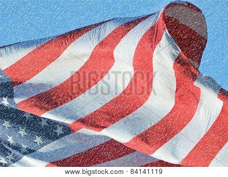 Peek at a snowy flag