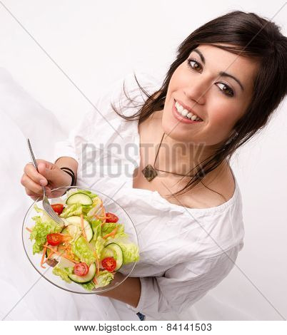 Healthy Eating Woman Enjoys Raw Food Fresh Green Salad