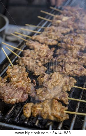 Charcoal Grilled Pork Street Food Thai Concept