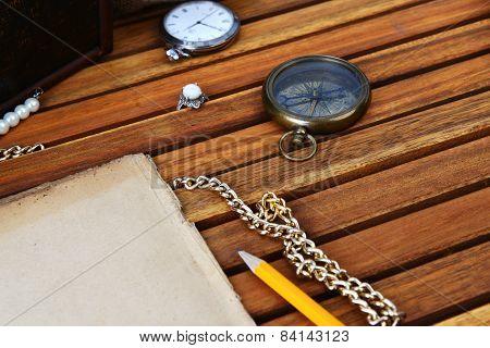 Ancient Mariner's Compass And Watch