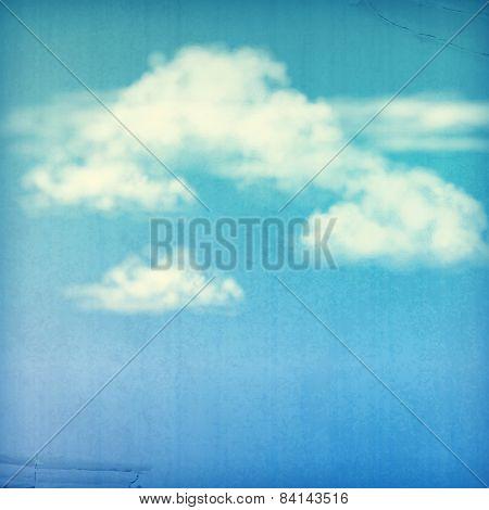 Blue Sky White Clouds Vintage Background