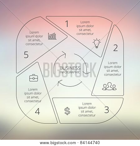 Circle line infographic. Template for cycle diagram, graph, presentation and round chart. Business c