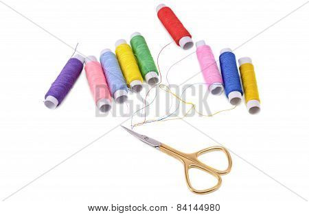 Spools Of Thread And Scissors