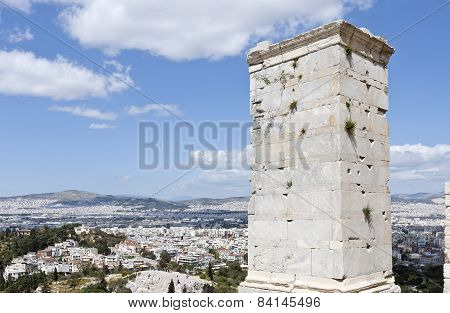 Part of the Agrippa tower of the Acropolis Propylaea.