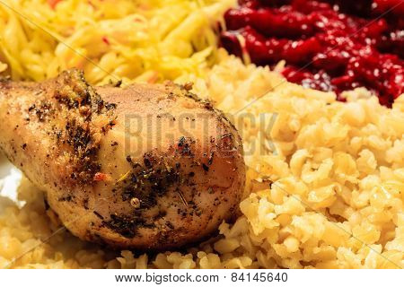 Chicken Meat Drumstick With Rice And Salad
