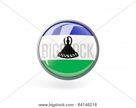 Round Icon With Flag Of Lesotho