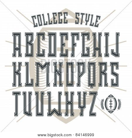 Bold Serif Font In College Style With Contour