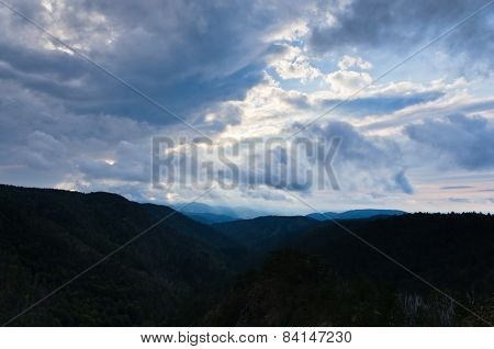 Landscape of Divcibare mountain with dark clouds at Sunset