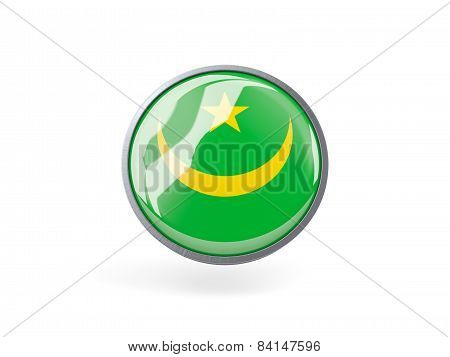 Round Icon With Flag Of Mauritania
