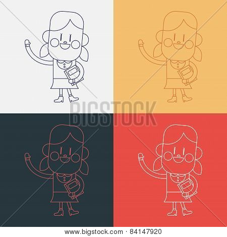 Character Illustration Design. Girl Greeting People Cartoon,