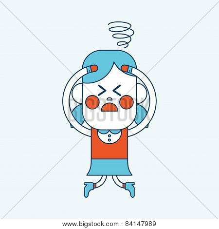 Character Illustration Design. Girl Confused Cartoon,eps