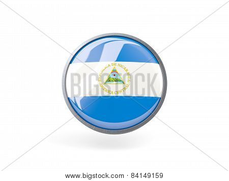 Round Icon With Flag Of Nicaragua