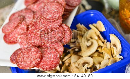 Slices Of Salami  With Mushrooms