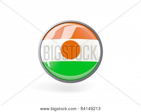 Round Icon With Flag Of Niger