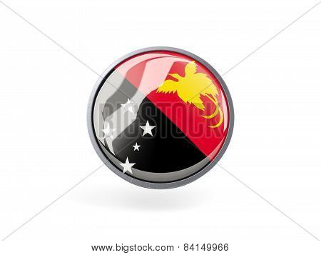 Round Icon With Flag Of Papua New Guinea