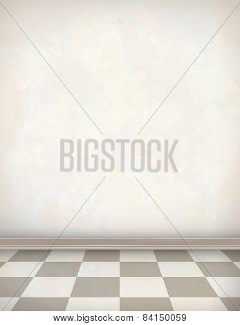 Empty Room White Wall Tile Floor