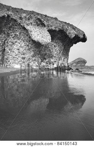 Mediterranean Sand Beach At Monsul In Almeria, Spain