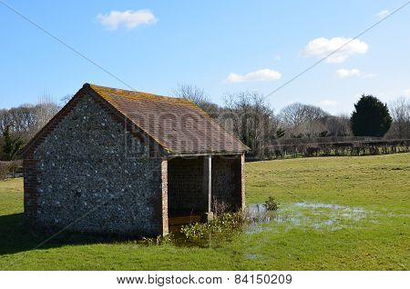 Flint barn in rural Sussex.