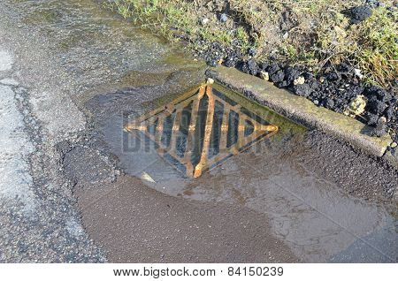 Iron drain water cover.