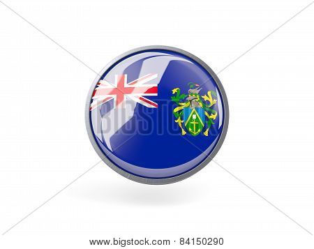 Round Icon With Flag Of Pitcairn Islands