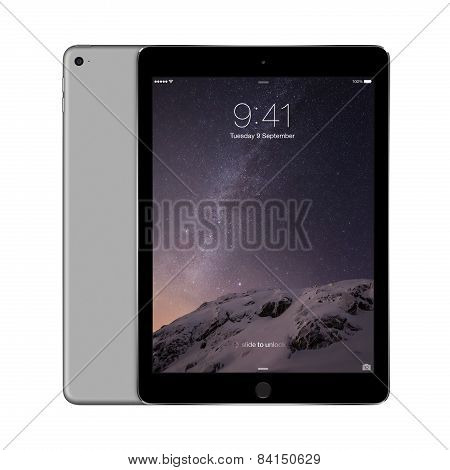 Apple Space Gray Ipad Air 2 With Ios 8 With Lock Screen On The Display, Designed By Apple Inc.