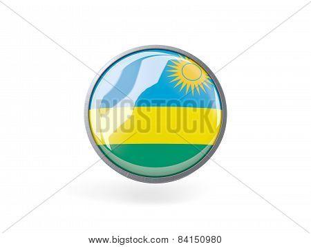 Round Icon With Flag Of Rwanda