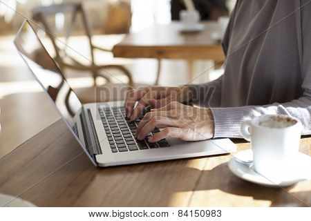 Typing Laptop In Cafe Horizontal