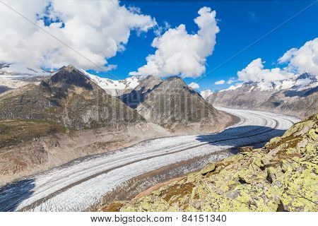 View Of The Aletsch Glacier On Mountains