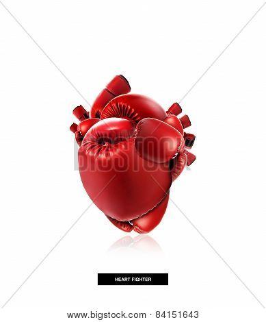 Heart Protection Medical Concept,heart Shape Made From Boxing Glove,fight For Life,isolated On White