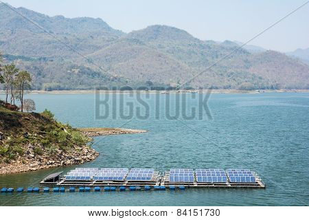 Advanced Manufacturing Technology They Work With Electricity. Solar Panels Placed On The River.