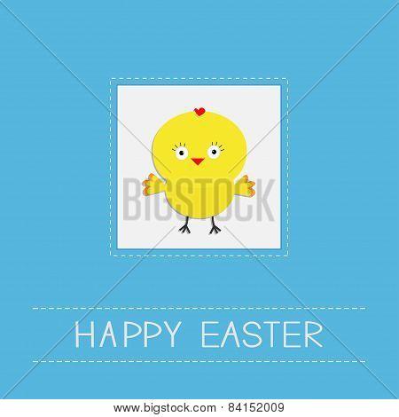Easter Chicken Dash Line Frame Blue Background. Card. Flat Design