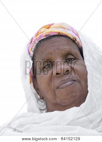 Portrait of an Afro woman, sixty years old, isolated