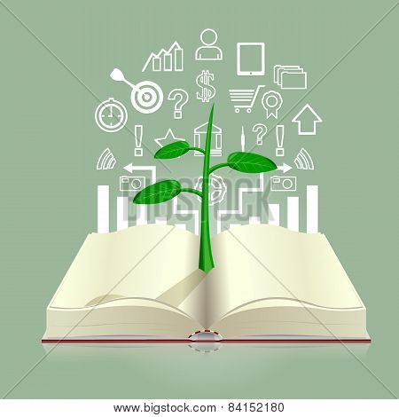 Seedlings growing from book