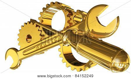 Gears With Screwdriver And Wrench
