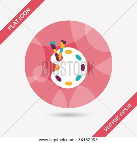 Art Palette With Paint Brush Flat Icon With Long Shadow,eps 10