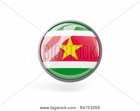 Round Icon With Flag Of Suriname