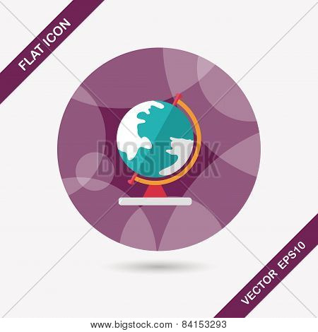 Globe Flat Icon With Long Shadow,eps10