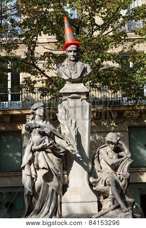 Paris - Sorbonne Square. Monument of Auguste Comte french philosopher