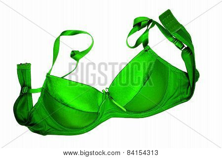 A Green Bra Close-up On The White Background