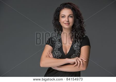 Portrait Of Beautiful Dark-haired Young Woman