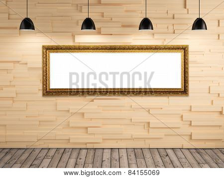 Exhibition Photo Gallery Picture Frame On Wood Wall Background And Lamp Show