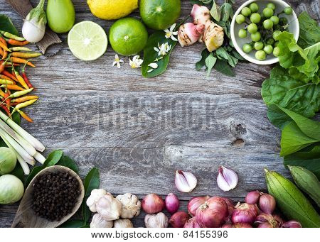 Ingredient Spices On Grain Wood Background