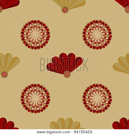 Vector bright seamless pattern with fans.